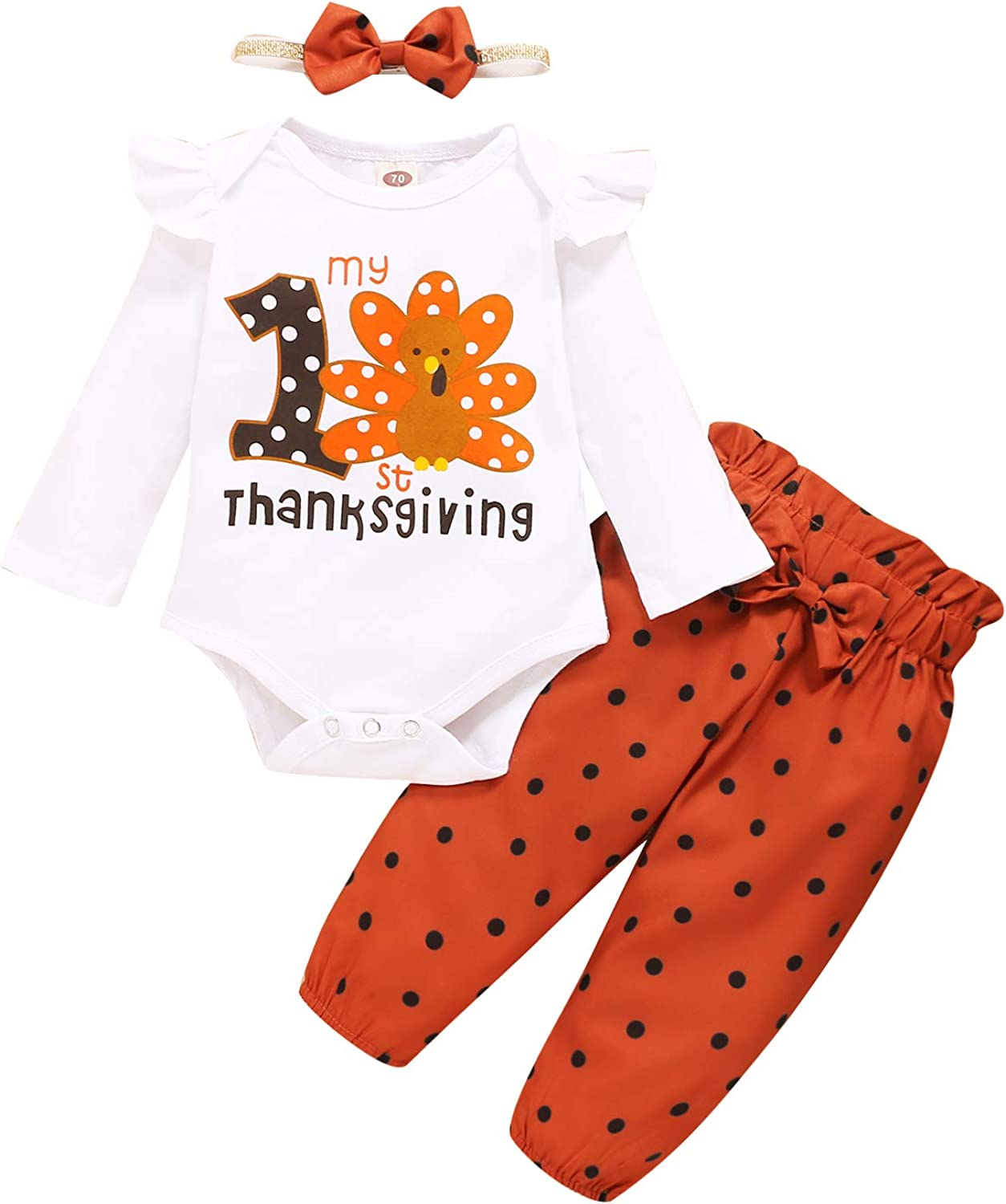 Mikrdoo Baby Girl Clothes Baby Thanksgiving Outfit Toddler Baby Long Sleeve Romper Tops Pants Set Infant Outfit Set