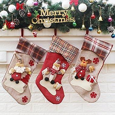 YAMUDA 3 Pcs Set Big size Classic Christmas Stockings for Decoration