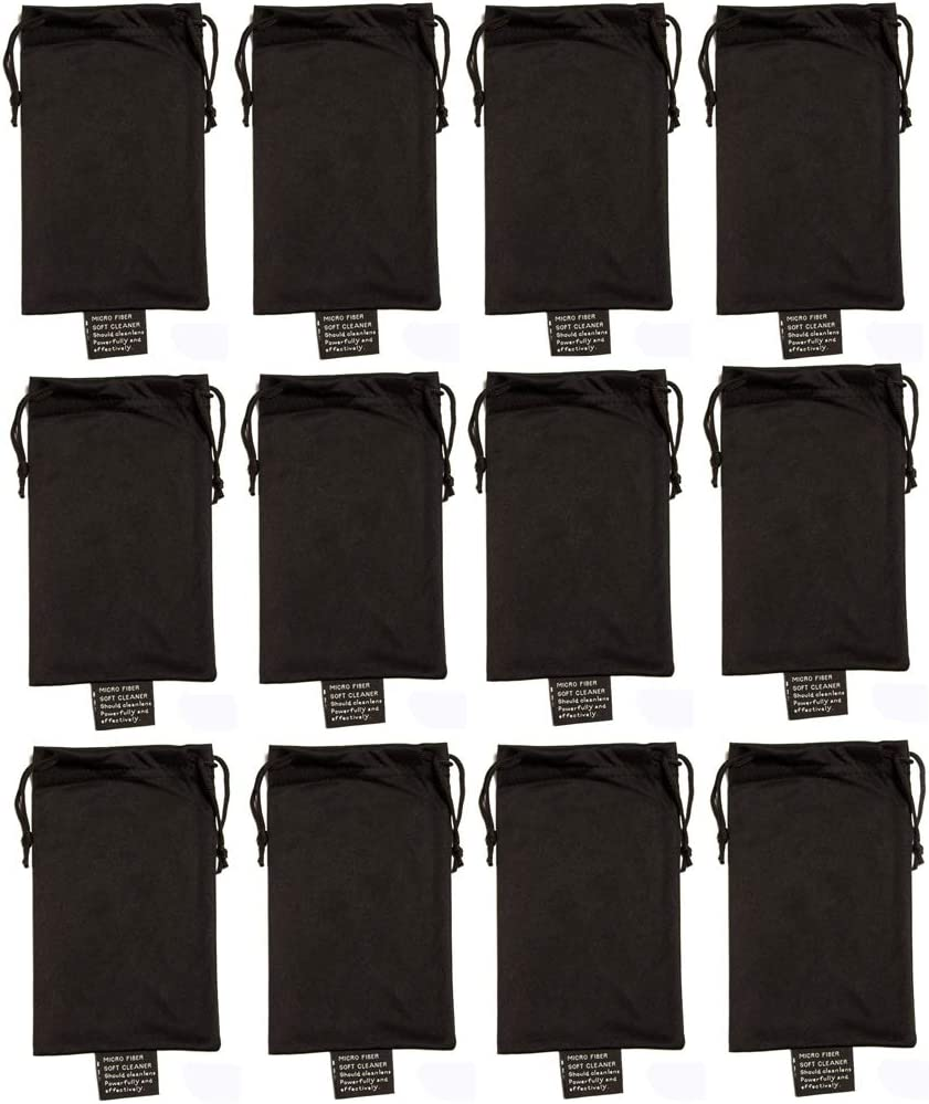 Edge I-Wear 12 Piece Microfiber Pouch/Case for Glasses, Phones,Jewelry B04-BLK-12