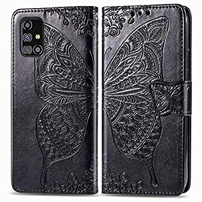 Leather Wallet Case for Samsung Galaxy M31s PU Leather Magnetic Flip Cover with Card Slots Holders Bookstyle Wallet Case for Galaxy M31s - JESD021602 Black