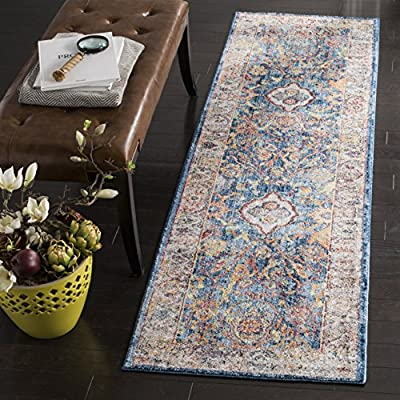 Safavieh Bristol Collection BTL361R Rose and Light Grey Vintage Oriental Distressed Square Area Rug Variation Family: 562-P