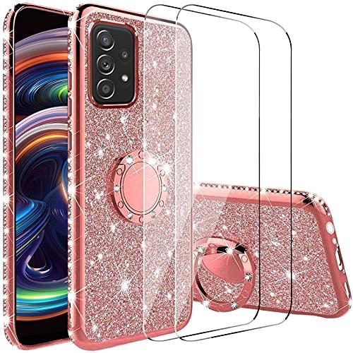 Vansdon Funda Compatible con Samsung Galaxy A52 5G+[ 2 Piezas Protectores de Pantalla in Cristal Templado], Estuche Protector de Diamantes Brillantes con Anillo de 360 Grados - Plateado