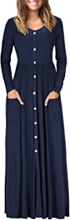 VOTEPRETTY Women's V Neck Long Sleeve Casual Loose Button Maxi Dress with Pockets