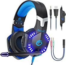 VersionTECH. PS4 Gaming Headset Xbox One Stereo Headset 3.5mm Wired PC Gamer Headphone with Noise Canceling Mic, in-Line Control, LED Lights for Xbox 1 S/X,Playstation 4, PC Mac Desktop Computer