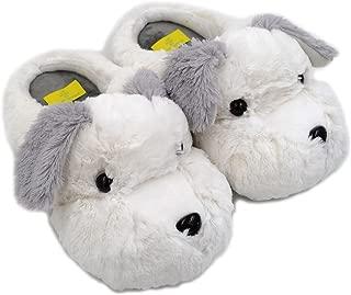 Millffy 2019 New Adult Sized Animal Slippers Fuzzy Schnauzer Dog Unisex Non-Slip Warm Plush Slippers