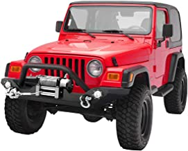 LEDKINGDOMUS Rock Crawler Front Bumper for 87-06 Jeep Wrangler TJ/YJ with Winch Plate & LED Lights Heavy Duty (Textured Black)
