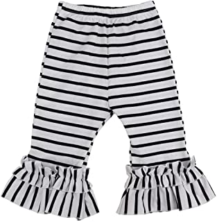 Wennikids Baby Toddler Girl's Cotton Ruffle Capris Pants Cropped Pants 1T-8T