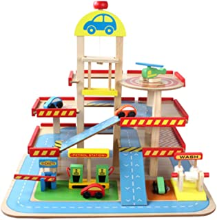 CHAO Set Car Track, Slidable Elevator, 3-Storey Car Park, Made of Wooden, Portable, Suitable for Multi-Party Parties or Single-Use at Any Age