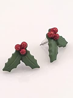 Christmas Red Holly Berry Post Earrings