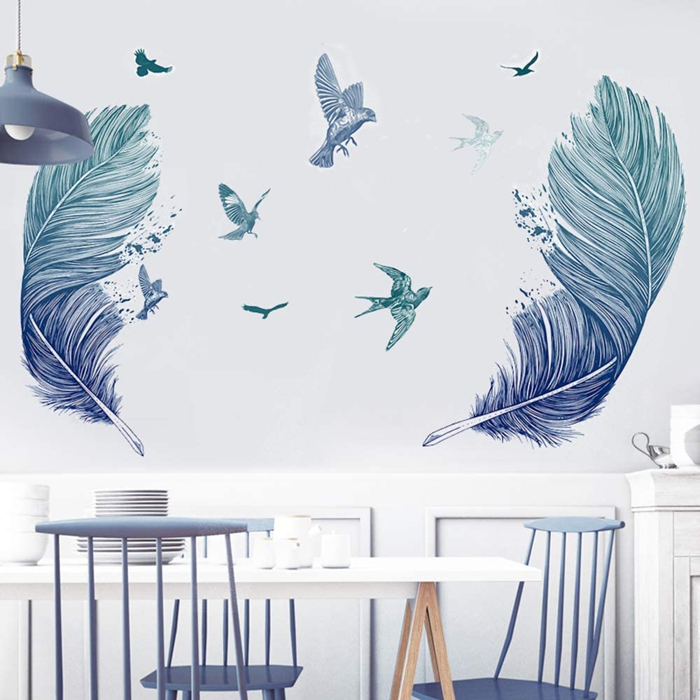 HO BEAR Blue Feather Wall Mural Decal for Living Room,Creative Bird Feather Wall Window Decoration,Wandering Feather Decor for Home as Housewarming Birthday
