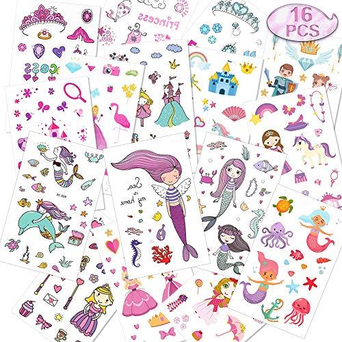 Tattoo Kinder Set 240 Stück Meerjungfrau Tattoos Kinder, 120 * 75 mm Prinzessin Temporäre Tattoos, für Geschenktüten Mitgebsel Kindergeburtstag Mädchen
