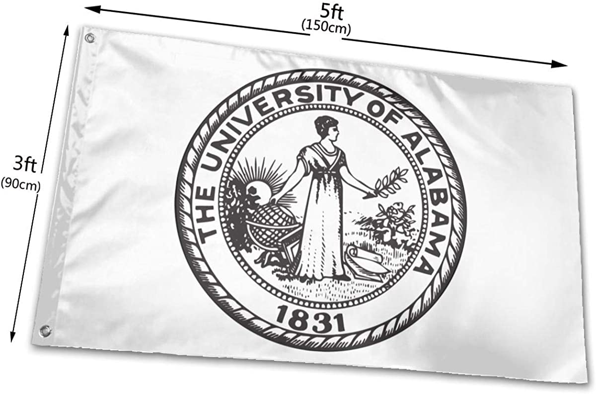 Canvas Header and Double Stitched Panpanrui The University of Alabama 1831,Vivid Color and UV Fade Resistant Polyester Flags with Brass Grommets