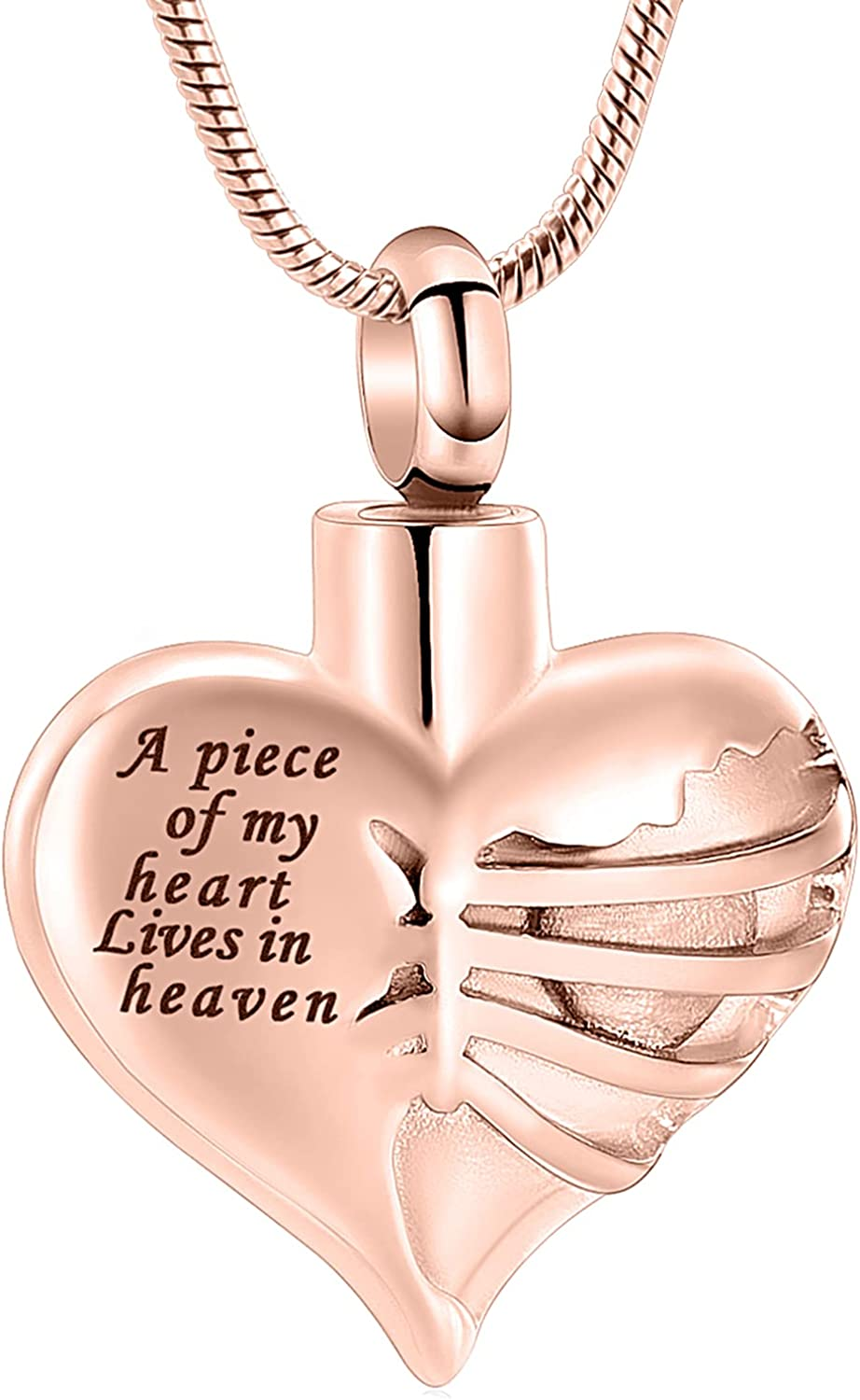 Heart Cremation Urn Necklace Pendant for Human Ashes - A Piece of My Heart Lives in Heaven Memorial Keepsakes Cremation Jewelry
