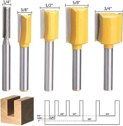 3 piezas fresa de 1//4 pulgadas Aussel Herramientas de fresado de carpinter/ía con rodamiento superior doble corte recto de flauta recortar plantilla fresadora