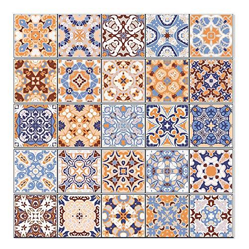 25 pegatinas de azulejos autoadhesivas, papel pintado impermeable al agua, para cocina, salón, cuarto de baño, decoración en casa (8 x 20 x 20 cm)
