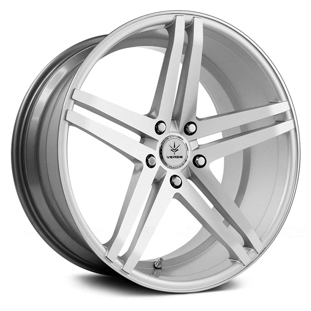 Verde Custom Wheels Parallax Matte Silver/Machined Wheel with Painted Finish (20 x 11. inches /5 x 112 mm, 48 mm Offset)