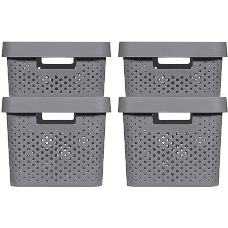 CURVER   4 Bacs de rangement Infinity 2x(11L+17L) + couvercles , Gris anthracite, Plastique recyclé