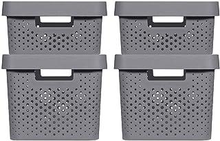 CURVER | 4 Bacs de rangement Infinity 2x(11L+17L) + couvercles , Gris anthracite, Plastique recyclé