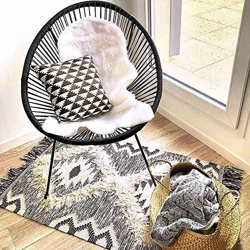 Alice's Garden Sessel Acapulco Ei-Form – Schwarz – Sessel mit 4 Füßen, Retro-Design, Kordel aus Kunststoff, innen/außen
