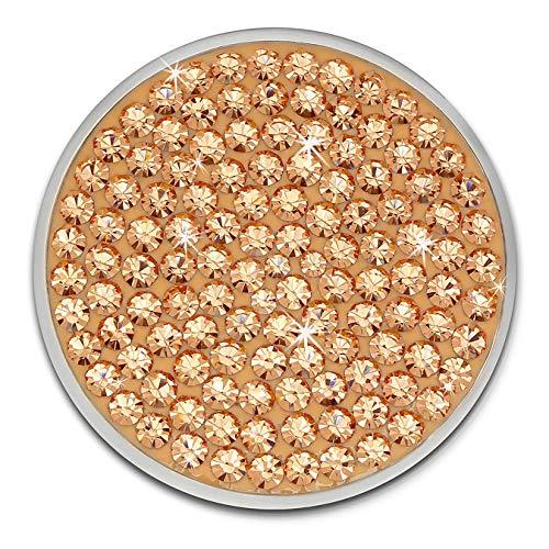 Amello Coin Edelstahl-Schmuck Coin mit Zirkonia rose - Coin für Amello Coinsfassung für Damen - - 30 mm, Größe M Edelstahlschmuck Stainless Steel ESC301E