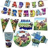 6 Invitados Kit CumpleañosDibujos animados Anime León Tema Suministros para fiestas Pajitas de papel Platos Manteles Fiesta de cumpleaños favorita de los niños Decoración de la boda Baby Shower