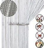 AIZESI- Cortina de tiras para puerta o ventana, protección contra insectos, moscas, panel divisor puertas o ventanas, tela, Blanco, 39'x78.5'
