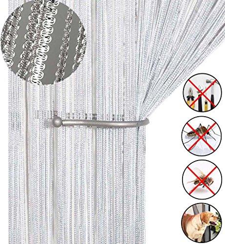 AIZESI SchiebeVorhänge Blickdicht Glitzer, Fadenvorhang 90 x 200 cm Fadengardine Fadenstore Vorhänge Vorhang Fenstervorhang(White)