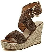 JJLIKER Women Gladiator Chunky Platform Wedges Sandals Cross Ankle Buckle Strap Espadrille Shoes