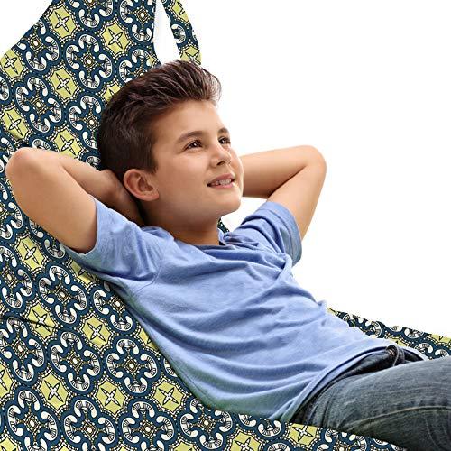 ABAKUHAUS Antiquität Unicorn Toy Bag Lounger Stuhl, Renaissance Fliesen-Kunst, Hochleistungskuscheltieraufbewahrung mit Griff, Blassgelb Dunkelblau