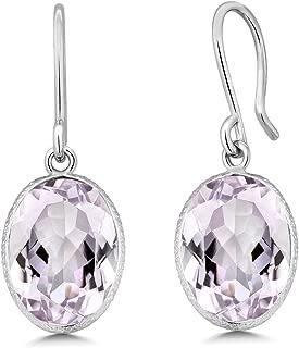 Gem Stone King Pink Amethyst 925 Sterling Silver Women's Gemstone Dangle Earrings (10.00 cttw, 10X14MM Oval Shape)