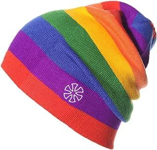 Unisex Rainbow Striped Outdoor Knit Slouchy Beanie Winter Skully Ski Hat Earflap Cap