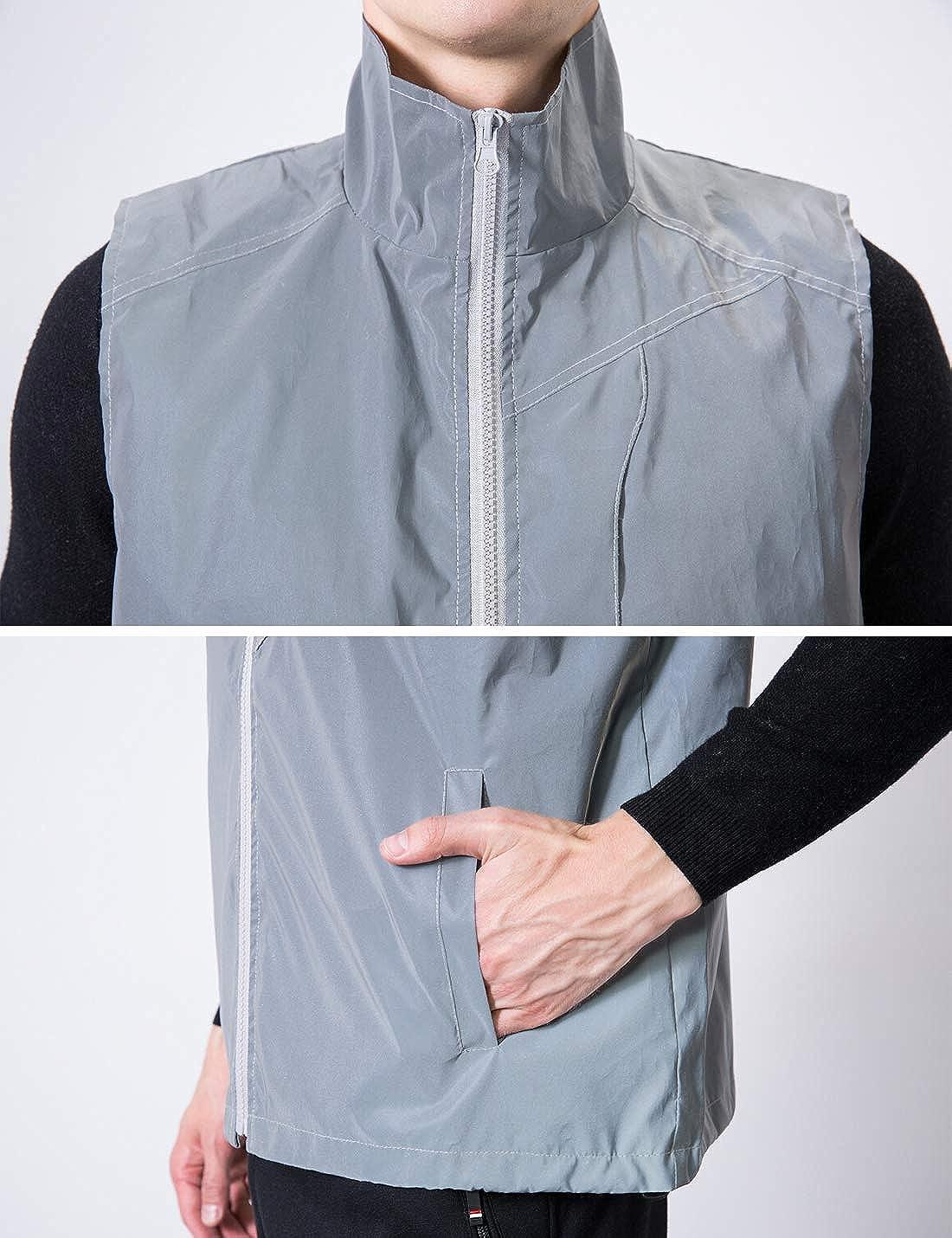 PAODIKUAI Men's Reflective Vest Outdoor Running Cycling Walking Biker Safety Vest