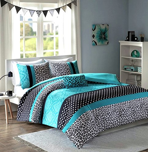Home Style Teen Girls Black Teal Bedding Comforter Damask Leopard Full Queen Bedspread White Aqua Blue Set + Shams + Adorable Throw Pillow Sleep Mask Polka Dot Comforters Sets for Girl Kids