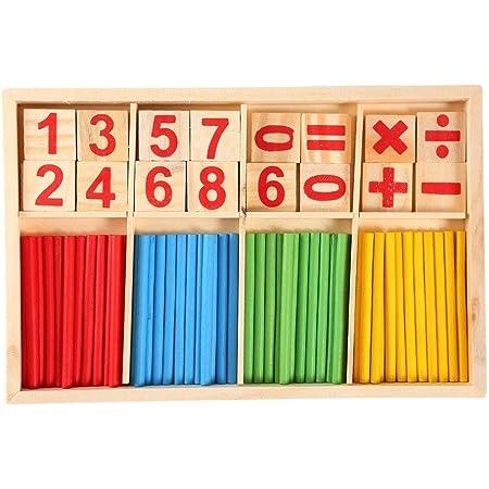 STOBOK Bastone di Conteggio Calcolo Matematica Giocattolo Educativo Bastoncini di Conteggio di Legno Scatola Montessori Intelligenza Matematica Bastone Giocattoli Educativi Prescolare