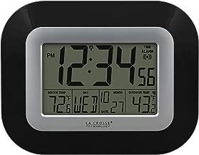 La Crosse Technology WS-8115U-B Atomic Digital Wall Clock with Indoor and Outdoor Temperature, Black
