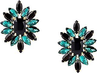 Zaveri Pearls Green & Black Crystal Shine Party Bling Stud Earring For Women-ZPFK10795