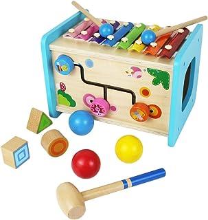 Flow.month - Cubo educativo de madera para actividades con Xylophone para bebé, bola de golpeo y clasificador de formas, regalo para niños y bebés, juguetes para 2 niños de 3 a 4 años