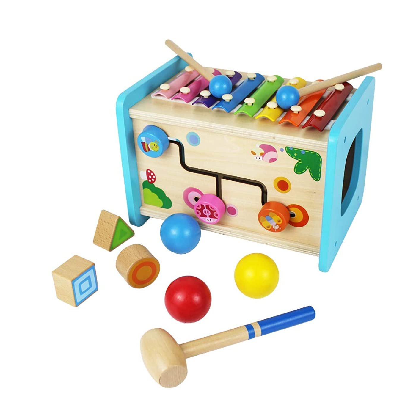Homlory Developmental Educational Wooden Activity Cube with Xylophone Shape Sorter and Pounding Ball for 1 2 3 Year Old Girl and Boy Baby Toddler Kids Gifts Toys