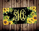 Sunflower Monogram Car Tag Monogram Car Tag Car Accessory Vanity Car Tag, Auto Decor, New Car Gift,Floral License Plate,Custom License Plate, 6' X 12'