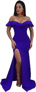 Short Sleeve Off The Shoulder Cross Wrap Front Ruffled Ruffle Hem Highwaist Split Slit Long Maxi A-Line Dress