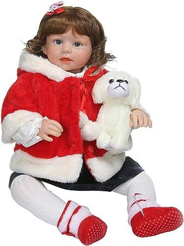 Meiqqm Babypuppe wie Echtes Baby,28in Nette Realistische Reborn Puppe Weiße Silikon Vinyl Neugeborenen mädchen Prinzessin Hund Lebensechte Handgemachte Spielzeug Kinder