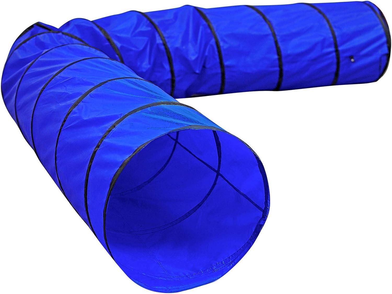 lionto by dibea Túnel para perros túnel de agilidad para mascotas (L) 500x60 cm color Azul