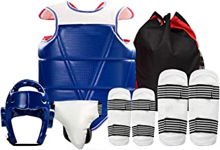 Taekwondo protective gear set,Thickened arm guard Leggings,Boxing Training Helmet,Effectively relieve stress,Men only,Six-...