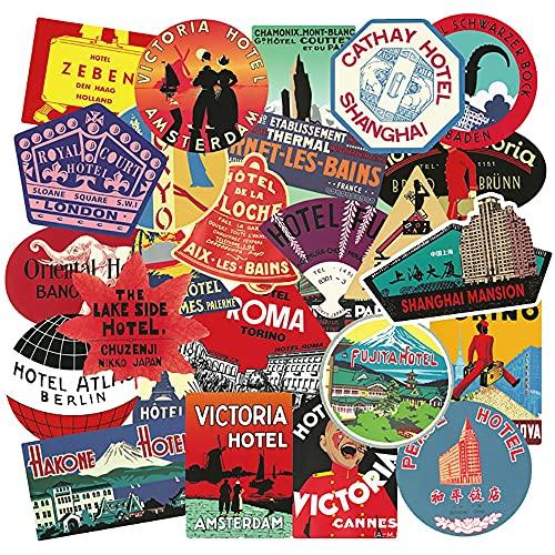 SHIHE Pegatinas clásicas de Viaje para hoteles internacionales, monopatín DIY, Nevera, Guitarra, Motocicleta, portátil, Equipaje, calcomanías, 55 Uds.