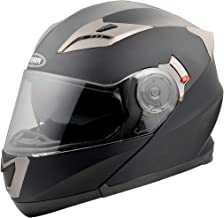 YEMA Helmet Unisex-Adult Motorcycle Racing Modular DOT YM-925 Street Bike Motorbike Crash Helmet with Sun Visor for Men Women Matte Black XL