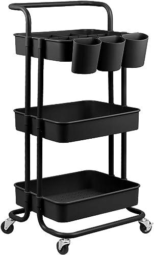 alvorog 3-Tier Rolling Utility Cart Storage Shelves Multifunction Storage Trolley Service Cart with Mesh Basket Handl...