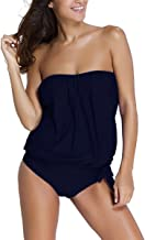 oboss Women's Summer Beach Bandeau Swimsuits Soft Cup Strapless Blouson Tankini with Breifs