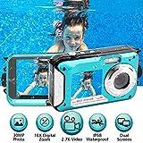 Appareil Photo Etanche 2.7K FHD 48MP sous Marin Caméscope Double écran méra Vidéo Numérique Camescope Vidéo Selfie 10 FT...