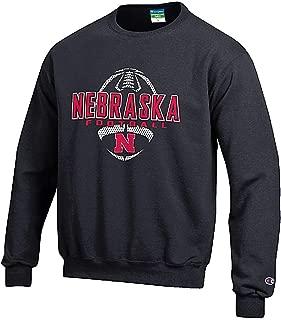 Champion Nebraska Cornhuskers Black Football Powerblend Screened Crew Sweatshirt