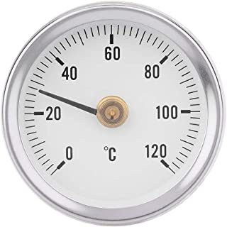 fosa 63mm 0-120ー IP55 Waterproof Dustproof Bimetal Thermometer Spring Thermometer Temperature Gauge with Clip-on Spring fo...